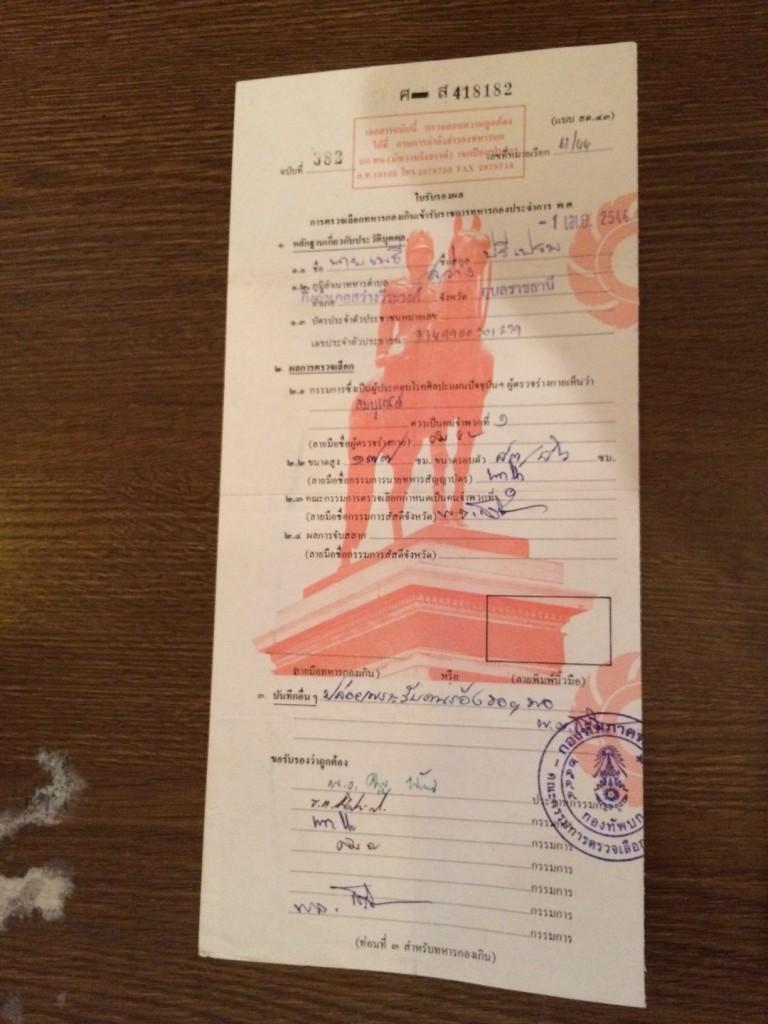 タイ徴兵クリアした書類