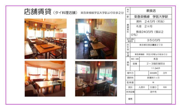 タイ料理店の空き物件情報